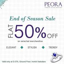 End of Season Sale - Flat 50% off on Sterling Silver Jewellery at Peora, Inorbit Mall, Vadodara