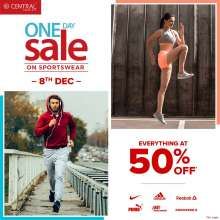 One Day Sale on Sportswear - everything at 50% off at Central  8th December 2018