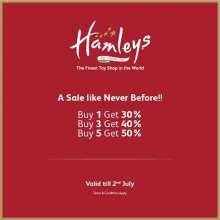 A sale like never before at Hamleys!  Buy 1 Get 30%  Buy 3 Get 40%  Buy 5 Get 50%  Valid till 2nd July 2017