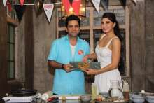 Champions of Food Revolution Day - Jacqueline Fernandez and Chef Kunal Kapur pose for shutterbugs