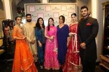 Anaita Shroff Adajania (3rd from left), Fashion Director, Vogue India, Actress Yami Gautam and Anita Dongre with models at the Vogue Wedding Show 2016 Bridal Studio